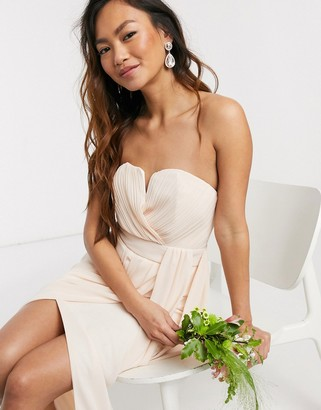 TFNC bridesmaid exclusive bandeau wrap midaxi dress with pleated detail in ecru