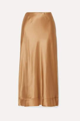 Lee Mathews - Stella Silk-satin Midi Skirt - Gold