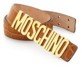 Moschino Lettered Croc-Embossed Leather Belt