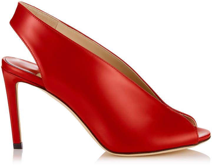 Jimmy Choo SHAR 85 Red Liquid Leather Sandal Booties