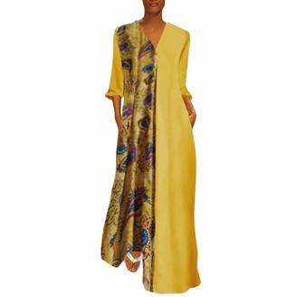Kimodo Ccl KIMODO Women Plus Size Vintage V Neck Splicing Floral Printed Long Sleeve Maxi Dress with Pocket (S-3XL) Yellow