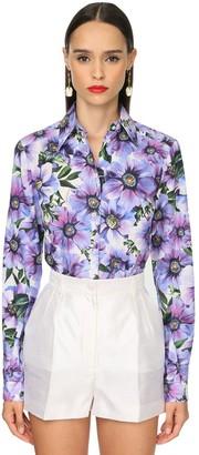 Dolce & Gabbana Fitted Anemone Print Cotton Poplin Shirt