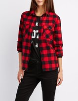 Charlotte Russe Buffalo Check Button-Up Shirt