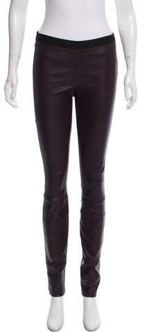 Theory Leather Mid-Rise Leggings