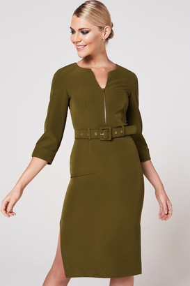 Paper Dolls Nomi Olive Self Belt Pencil Dress