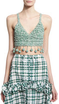 Rosie Assoulin Crocheted Cami Pompom Top, Green