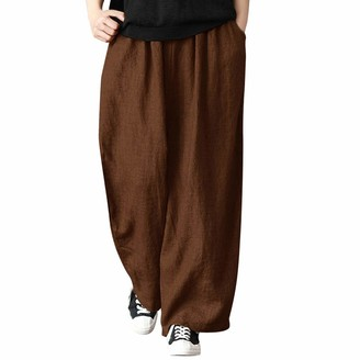 JERFER Womens Autumn Fashion Ladies Casual Cotton and Linen Loose Wide Leg Pants Trousers Coffee