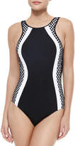 Jets Luxe Two-Tone Netted One-Piece Swimsuit