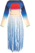 Marco De Vincenzo Sun-print and fringed-georgette dress