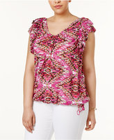 INC International Concepts Plus Size Ruffled Printed Top, Only at Macy's