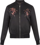 Alexander McQueen Embroidered silk-satin bomber jacket