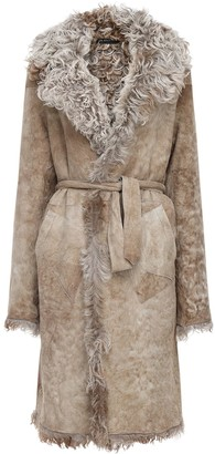 Ann Demeulemeester Reversible Shearling & Suede Long Coat