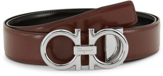 Salvatore Ferragamo Shiny Double G Leather Belt
