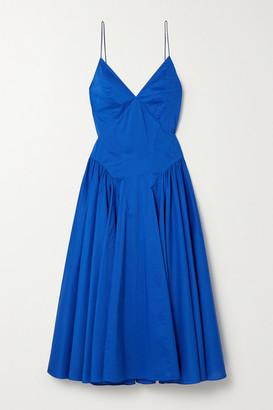 TOVE Maren Pleated Organic Cotton Midi Dress - Blue