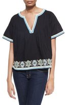 Townsen Hunter Pintucked Cotton Top w/ Embroidery, Black/Multicolor