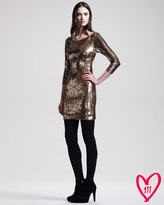 Alice + Olivia BG 111th Anniversary Sequined Long-Sleeve Dress