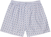Sunspel Classic Diver Print Cotton Boxer Shorts, Blue