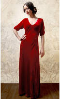 Nancy Mac 1940s Style Maxi Dress In Deep Red Silk Velvet