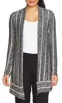 Chaus Marled Stripe Long-Sleeve Cardigan