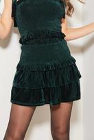 A Love Like You Smocked Velvet Mini Skirt Green M