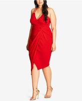 City Chic Trendy Plus Size Faux-Wrap Bodycon Dress