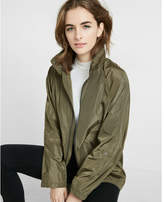 Express mock neck long convertible sleeve raincoat