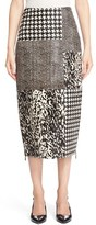 Jason Wu Women's Genuine Calf Hair & Lambskin Leather Patchwork Skirt