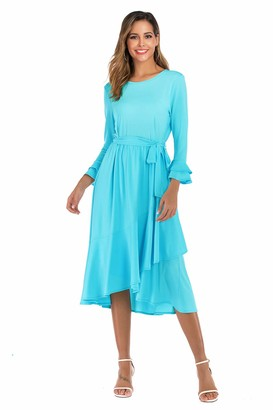 Alice CO Women's Plain Casual Round Neck Bell Sleeve Ruffle Hem Loose Flowy Cocktail Party Dress with Belt Black Medium