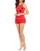 Betsey Johnson Heart-Print Crochet Racerback Ruffled Pajamas