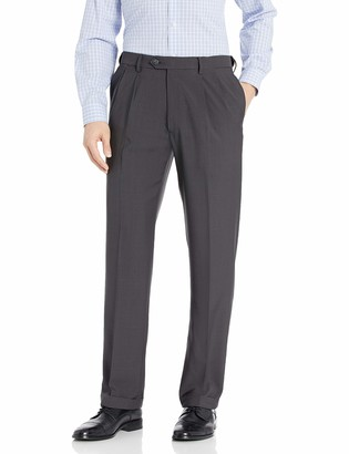 Haggar Men's Repreve Stria Gab Expandable Waist Pleat Front Dress Pant