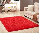 Solid Rectangle Soft Cozy Shaggy Area Rug Fluffy Thick Carpet Floor Mat for Home Living Bedroom Kids red