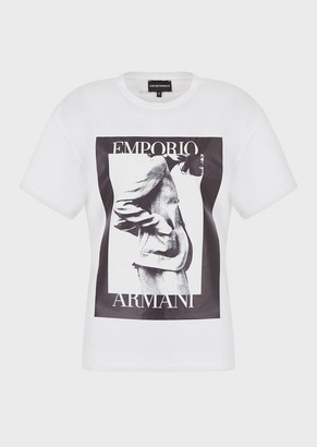 Emporio Armani Jersey T-Shirt With Maxi Photographic Print