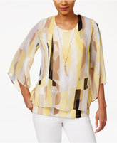 JM Collection Petite Printed Layered Necklace Top, Only At Macy's