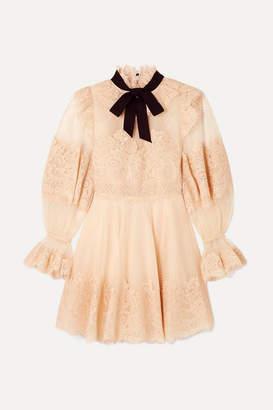 Zimmermann Espionage Corded Lace And Point D'esprit Tulle Mini Dress - Blush