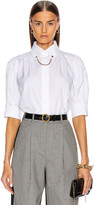 Givenchy Puffy Short Sleeve Chain Blouse in White | FWRD