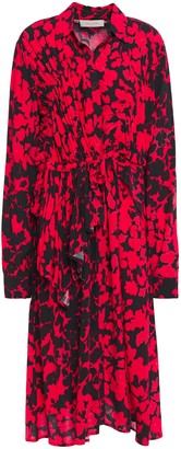 Preen Line Ruched Ruffled Printed Crepe Dress