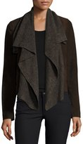 Neiman Marcus Suede & Ribbed-Knit Waterfall Jacket, Brown