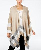 Calvin Klein Plus Size Striped Open-Front Poncho