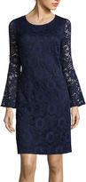 Robbie Bee Long Bell-Sleeve Lace Sheath Dress