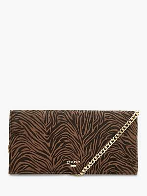 Dune Briar Leather Clutch Bag, Tiger Print