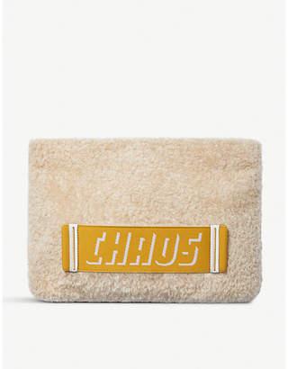 Chaos Logo shearling clutch