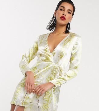 ASOS DESIGN satin wrap mini dress in snake print