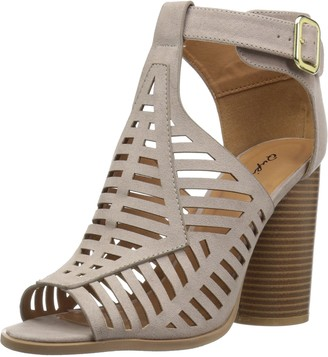 Qupid Women's Wood Heeled Sandal