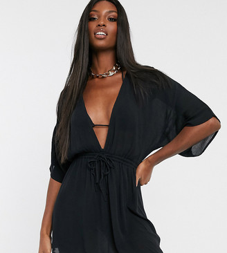 Asos Tall DESIGN TALL crinkle beach cover up with channel waist & drape sleeves in black