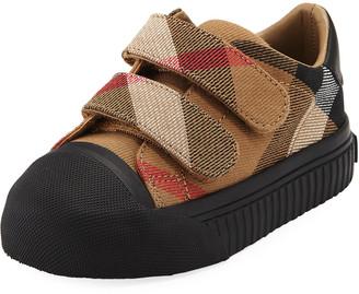 Burberry Belside Check Sneaker, Beige/Black, Toddler Sizes 7-10