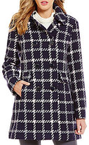 Kate Spade Club Collar Double Breasted Wool Plaid Coat