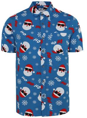 George Blue Santa Claus Print Christmas Shirt