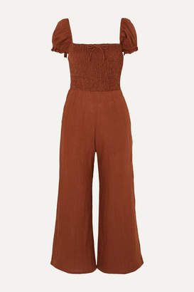 Faithfull The Brand Winnie Shirred Linen Jumpsuit - Tan