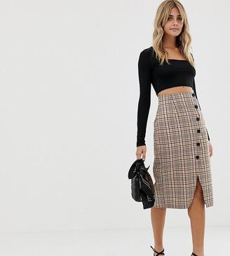 Miss Selfridge midi skirt with popper detail in check