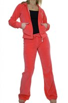 Ice 6327-10) Ladies Hooded Velour Lounge Suit Luxury Coral (L)